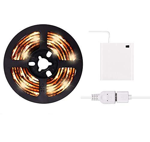 Luces de tira LED de 2m USB o con batería Luz blanca cálida LED brillante con luz LED de USB LED Kit de tira de luz 6.6FT