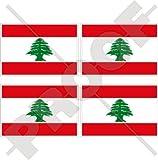 Libanon Libanesische Flagge libnan, Mitte Osten, Lubnan 5,1cm (50mm) Vinyl bumper-helmet Sticker, Aufkleber X4