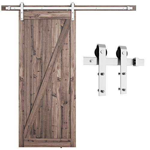 """SMARTSTANDARD 6.6 Feet Stainless Steel Barn Hardware Kit-Heavy Duty Sliding Track-Smoothly and Quietly-Easy to Install-Fit 36""""-40"""