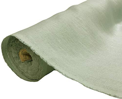 A-Express Natural Pura 100% Tela de lino Material suave Confección de vestidos Moda Bolsa de lino 140cm ancho - 1 Metro (100cm x 140cm) Mar verde