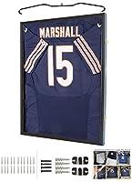 Jersey Display Frame Case Large Frames Shadow Box Lockable with UV Protection for Baseball Basketball Football Soccer Hockey Sport Shirt (Black Finish)