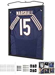 Jersey Display Frame Case Large Frames Shadow Box Lockable with UV Protection for Baseball Basketball Football Soccer Hockey Sport Shirt (Black Finish)