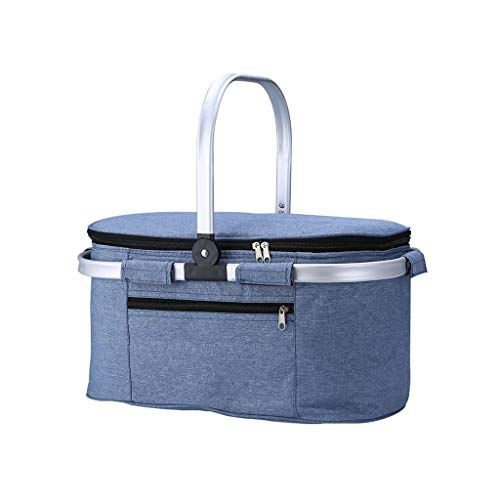Multi-function Portable Picnic Basket Insulated Cooler Bag Leakproof Aluminium Handle Picnic Kit,for Travel Camping Music Festival (Color : Blue)