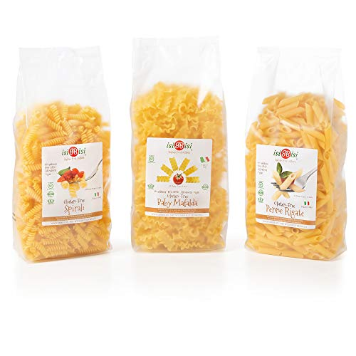 isiBisi Family Pack Gluten Free Pasta Sampler - Made with Rice and Corn Flour - Penne Rigate, Baby Mafalda Pasta & Spirali Noodles - Quality, Authentic Gluten Free Noodles - Vegan, Non-GMO - Made in Italy (84 oz - 3 Pack)
