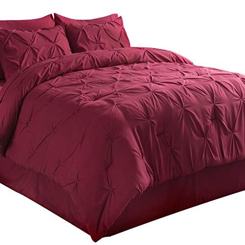 Bedsure King Size Comforter King Comforter Sets Bed in A Bag 8 Pieces Dark Red - 1 King Comforter(102x90 Inches), 2 Pillow Shams, 1 Flat Sheet, 1 Fitted Sheet, 1 Bed Skirt, 2 Pillowcases