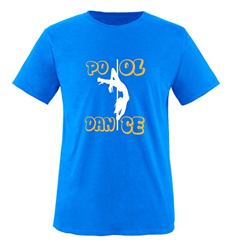 Comedy Shirts - Pool Dance - Herren T-Shirt - Royalblau/Weiss-Gelb Gr. XL