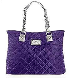 powerful Joy Mangano Paris Chic Quilted Metal Shopping Bag-Purple