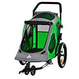 Aosom Dog Bike Trailer 2-in-1 Pet Stroller Cart Bicycle Wagon Cargo Carrier Attachment for Travel with 360 Swivel Wheel Reflectors Parking Brake Straps Cup Holder Green