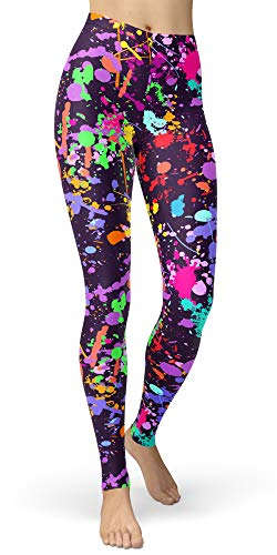 Women's Artistic Paint Splatter Leggings, Plus Size Available