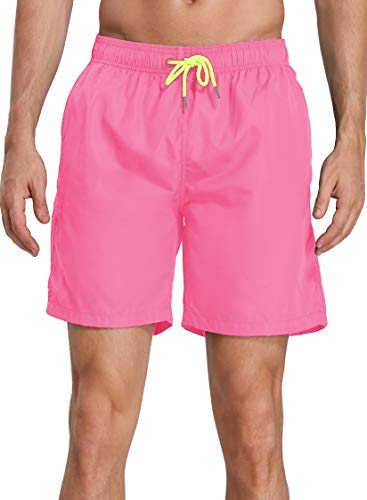 NEOSAN Men's Swim Trunks Beach Board Shorts Dry Quickly Stripe Bathing Suits Short New Pink 36