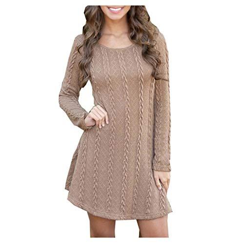 Luotuo Damen Strickkleid Elegante Pulloverkleid mit Zopfmuster A-Linie Langärmeliges Kleid Strickpullover für Winter