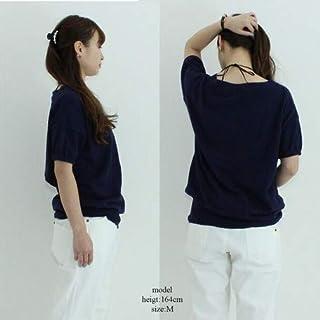 Vネックドルマン半袖綿ニット カーディガン/セーター/トップス