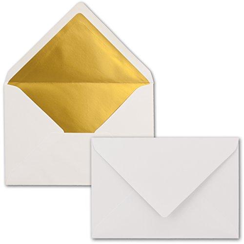 Kuverts Weiß - 50 Stück - Brief-Umschläge DIN C6-114 x 162 mm - 11,4 x 16,2 cm - Naßklebung - Matte Oberfläche & Gold-Metallic Fütterung - ohne Fenster - für Einladungen