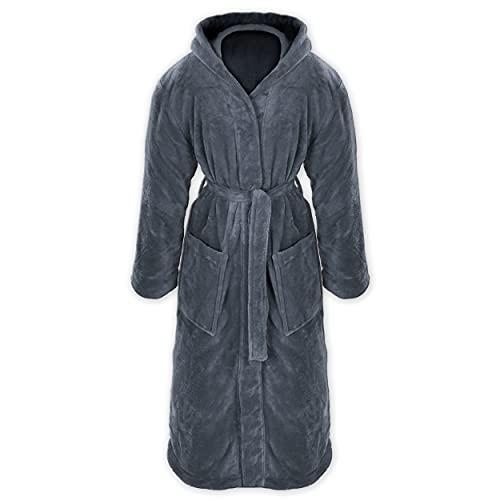 Gräfenstayn® Damen & Herren Kuschelfleece Bademantel mit Kapuze Größe S-XXXL Öko-Tex Standard 100 Flanell Fleece (L, Anthrazit)