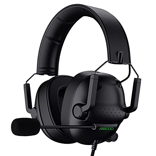 Jeecoo J50 Stereo Gaming Headset with Clear Microphone, Folding Gaming Headphones Lightweight Portable Compatible for PS4 PS5 Xbox One PC & Laptop Computer
