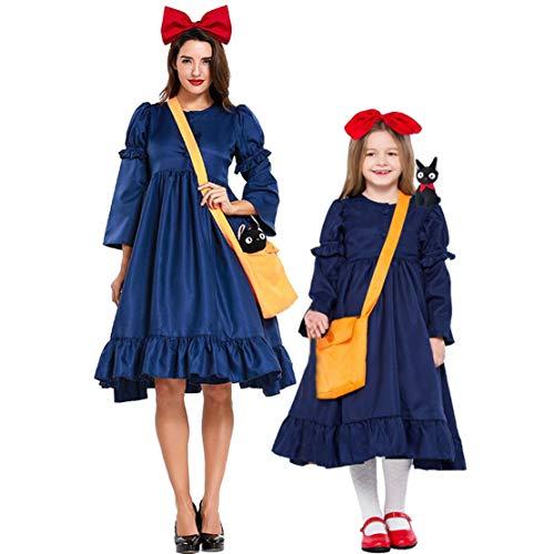 Hivia Bruja Kiki Disfraz Conjunto Madre e Hija Vestido Desmontable con Manga Larga Vestido de Fiesta Cosplay Carnaval