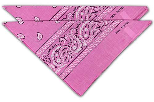 fashionchimp ® Nicki-Halstuch aus 100% Baumwolle im 2er Set, Unisex Bandana, AZO-Frei (Rosa)