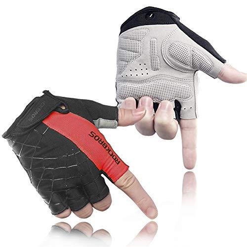 SOECE Fietshandschoenen, heren, dames, gevoerd, ademend, antislip, fitnesshandschoenen, krachtsport, trainingshandschoenen, halve vinger, krachtsport-geschikt voor racefiets en mountainbike