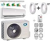 Diloc FROZEN Condizionatore Wifi 24000 Btu R32 Climatizzatore Inverter Parete D.FROZEN24+D.FROZEN124 Compressore Sharp + Tubi Rame Coppia 3/8' + 5/8' (3 Metri (3+3))