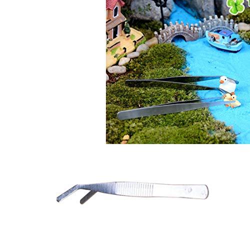 Tuingereedschap RVS Planten Cleaner Tool Crooked Pincet Planten Schoonmaken Tool Aquarium Onderhoud Gereedschappen Marine Aquarium Live Planten Pincet, Lengte:12 cm Tuinieren Gereedschap