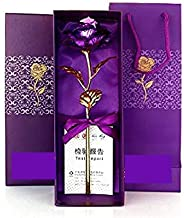 MSA JEWELS Combo of 24K Purple Rose Flowers in Gift Box