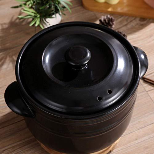 TELLMNZ Cocotte en terre cuite avec couvercles pour plaque de cuisson au four – Durable, sûr et sain, anti-adhésif, noir - 2,5 l