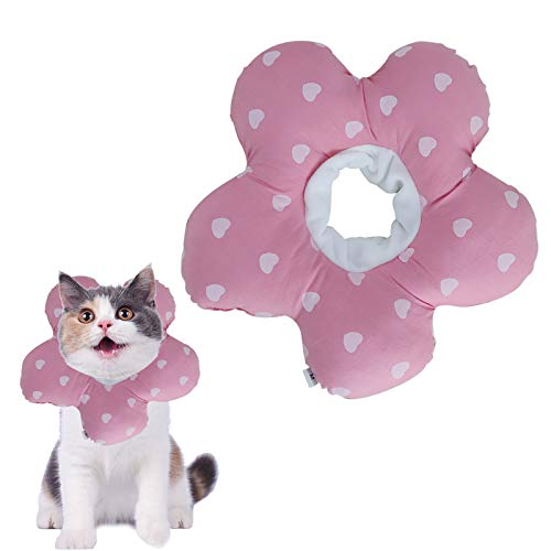 NO Yemiany Elizabeth Collar de Cuello para Mascotas Collar de algodón Inflable Suave Collar de Cono para Mascotas Ajustable para después de la cirugía Anti-Mordida Lamido(Rosa,Ajustable17-27CM) 🔥