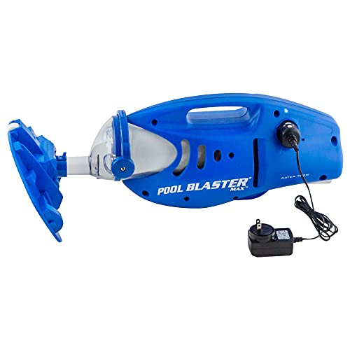 """Pool Blaster Max Cordless Rechargeable, Battery-Powered, Pool-Cleaner with 10.5"""" Scrub Brush Head, Large Filter Bag, Ideal for In-Ground Pool and Above Ground Pools for Leaves, Dirt and Sand"""