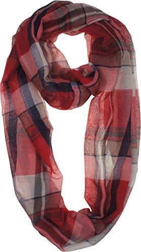 VIVIAN & VINCENT Soft Light Elegant Solid Plaid Check Sheer Infinity Scarf Head Wrap Red