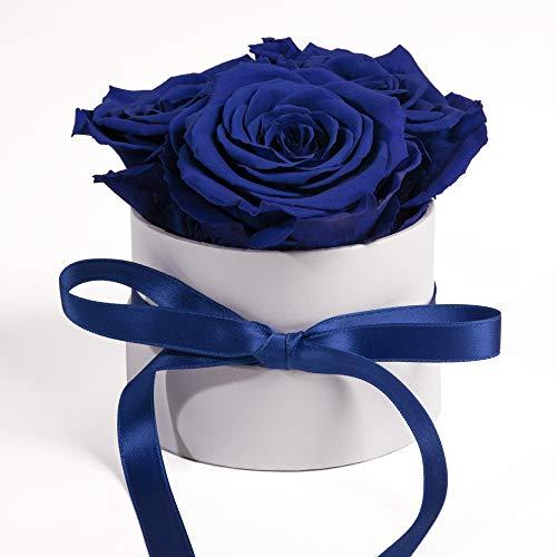 ROSEMARIE SCHULZ Heidelberg Rosenbox Flowerbox weiß rund konservierte Rosen - 3 Infinity Rosen Blumengruß Geschenk für Frauen (Blau, Medium)