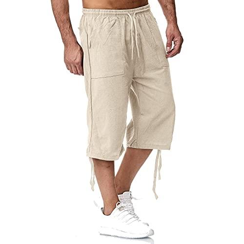 Pantalones capri para hombre, pantalones de ocio, de algodón y lino, pantalones de deporte, sueltos, transpirables, ligeros, informales, pantalones cortos caqui XL