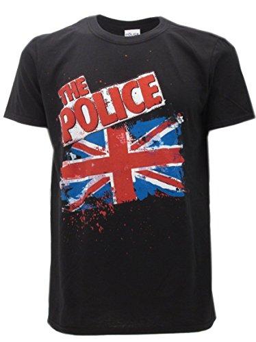 t-shirteria Camiseta Negra Police, Bandera Inglés, Camiseta Original–Tallas de XS S M L XL, Negro, S
