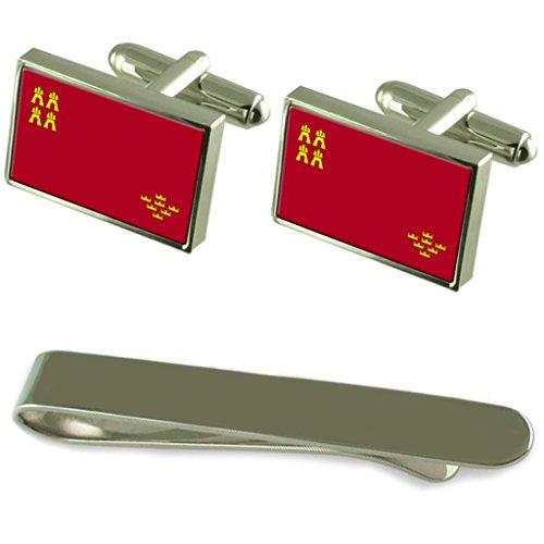 Select Gifts Murcia Bandera Gemelos Plata Clip Grabado Set de Regalo