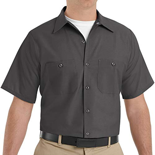 Red Kap Men's Industrial Work Shirt, Regular Fit, Short Sleeve, Charcoal, Large
