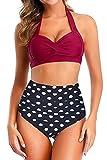 papasgix Women Vintage Polka Dot High Waisted Bathing Suits Halter Ruched Swimwear Tummy Control Two Piece Bikini Set