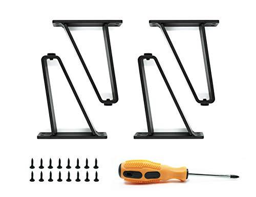 4 Stück Schwarz Austauschbare Möbelbeine DIY Metall Tischbeine mit Schrauben Geeignet für Möbelfüße wie Schränke, Sofas, Couchtische, TV-Schränke usw. (15cm)