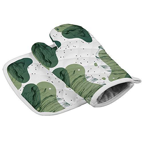 Botany Flower Green Illustration Leaf Line Organismo Planta Patología Resistente al Calor Horno Microondas para Cocina diaria Cocina y Hornear Guantes Aislamiento Perfecto para Regalos