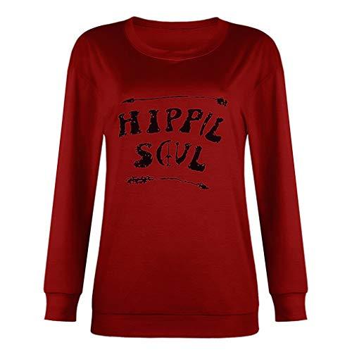 DQANIU Frauen Pullover, Frauen Frühling/Herbst Mode Lässig Oansatz Brief Gedruckt Hoodie Sweatshirt Bluse Tops