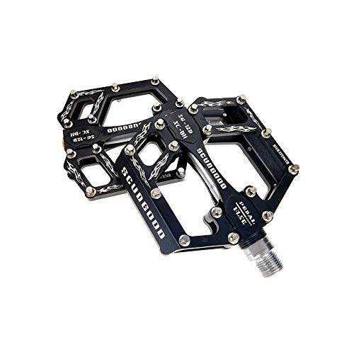 Bike Pedal Set Mountain Bike Pedals 1 Pair Aluminum Alloy Antiskid Durable Bike Pedals Surface For Road Bike 5 Colors (SG-12D) Platform Bicycle Pedal (Color : Black)