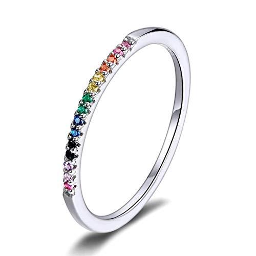 Qings Regenbogen Ring, Bunte Zirkonia Stapelbare Band Ringe 925 Sterling Silber Einfach Ringe Ewigkeitsring Schmuck Geschenk für Frauen Damen Größe 6