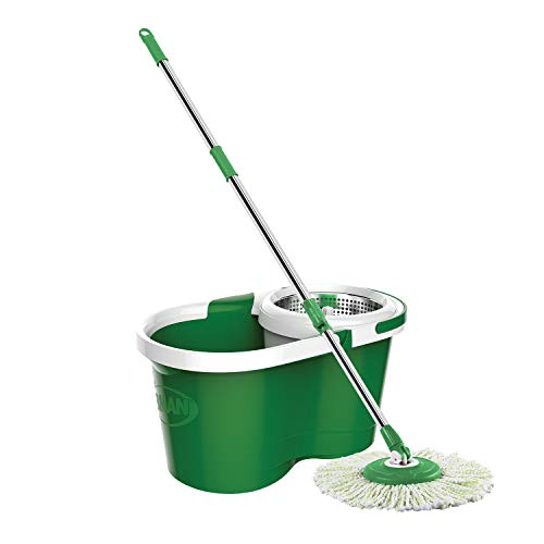 Libman Mop and Bucket Spin Mop & Bucket, White/Green