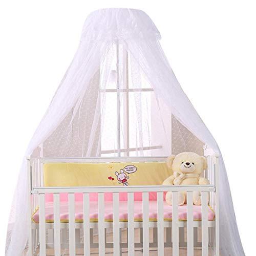 Dosel para cama con soporte mosquitera para cuna o cuna contra insectos arañados mosquitos, decoración para cama de bebé, color blanco con poste blanco blanco