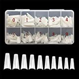 Feugole French Coffin Ballerina Nail Tips Acrylic Half False Nails 10 Sizes 500 Pcs with Box (Natural)