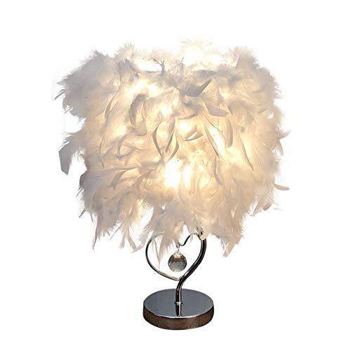 Veer hartvormige tafellamp, moderne hotel-bedlamp, unieke veren-lampenkap, LED-nachtlamp, gebruikt in woonkamer, bruiloft, slaapkamer, decoratielamp,35cm