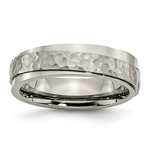 Alianza de boda de titanio pulido y martillado de 6 mm