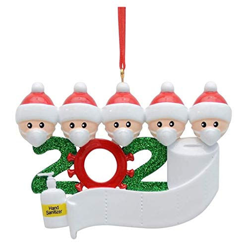 ZZpioneer 2020 Survived Family Christmas Hanging Ornament DIY Personalized Christmas Tree Pendants Home Decor Holiday Decorations Xmas Gifts (D)