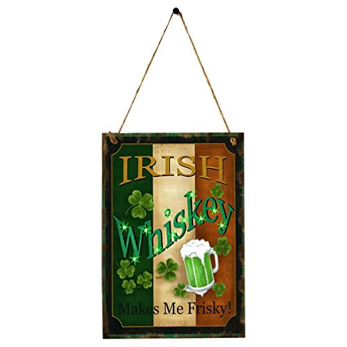 Amosfun Kleeblatt Holzschild Kleiderbügel Klee Irish Whisky Türschild Handwerk St. Patricks Day Hängende Dekoration