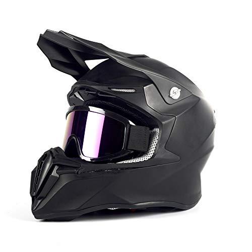 Casco de motocross para niños de Motuo, BMX, con gafas, color negro mate, M