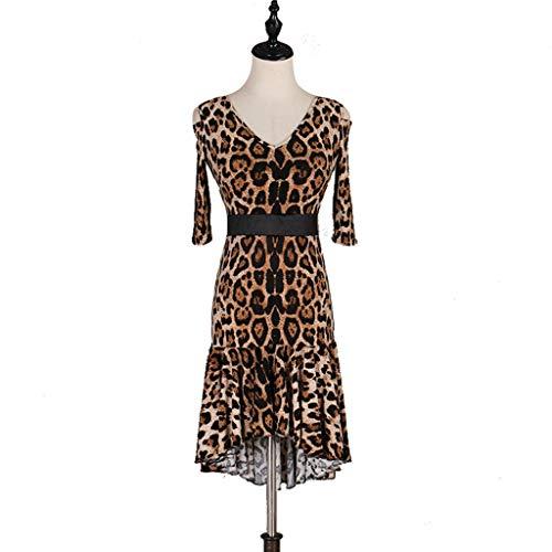 Traje De Baile Latino De Leopardo Profesional Para Mujeres Rumba Cha Cha Danza Vestido Grande Practica La Ropa (Color : Leopard, Size : M)
