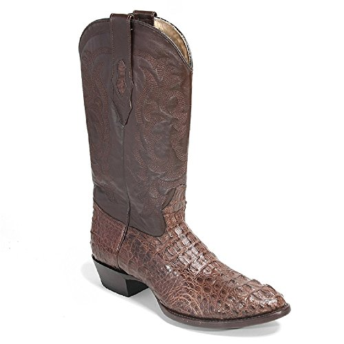 Men's Round Toe Brown Genuine Leather Caiman Hornback Skin Western Boots - Exotic Skin Boots